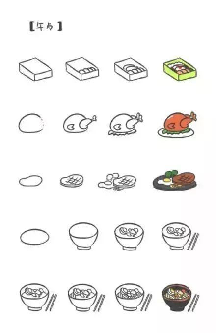 简笔画 萌系食物图标