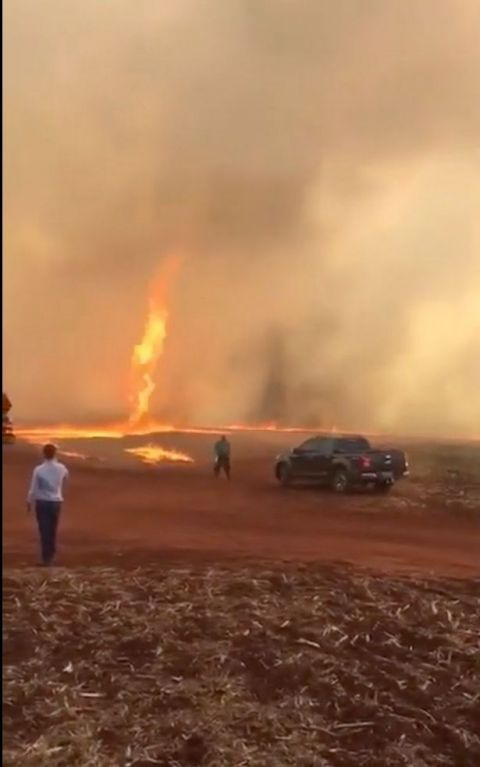 罕见的火灾龙卷风盘旋在260英尺高的天空,失控的大火撕裂了农场