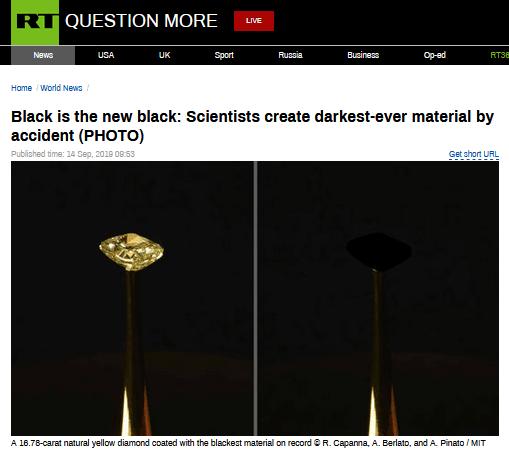 能吸收99.995%的入射光!科学家发现有史以来最黑材料