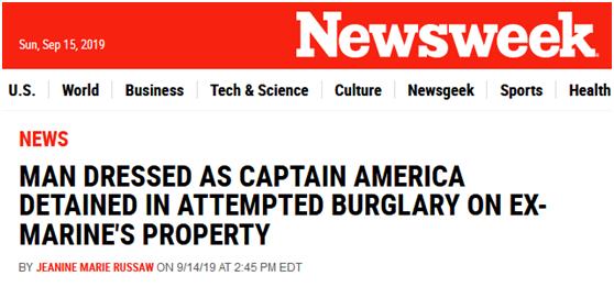 """美国男子穿成这样行窃被逮个正着,网友调侃:强大的""""美国队长""""倒下了"""
