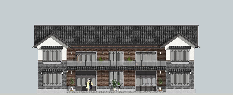△自建新中式雙拼別墅南立面圖圖片