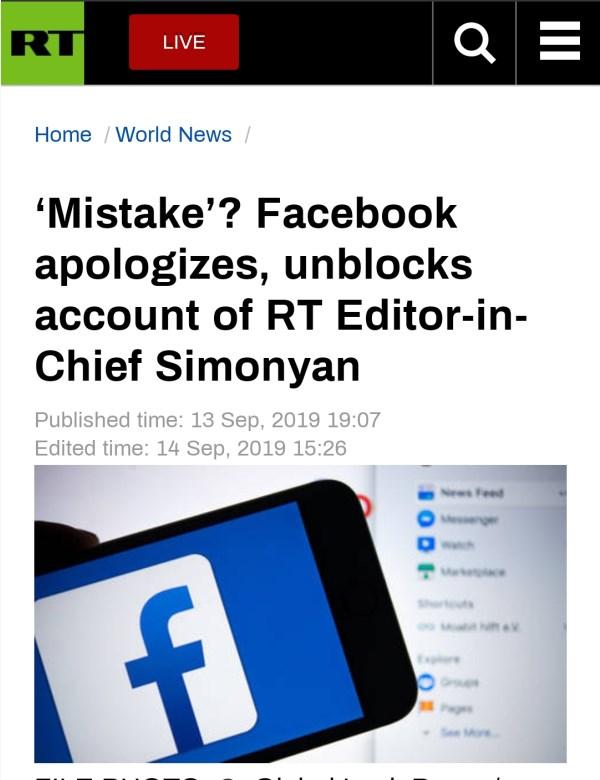 封杀今日俄罗斯主编,Facebook道歉:我们犯了个错误