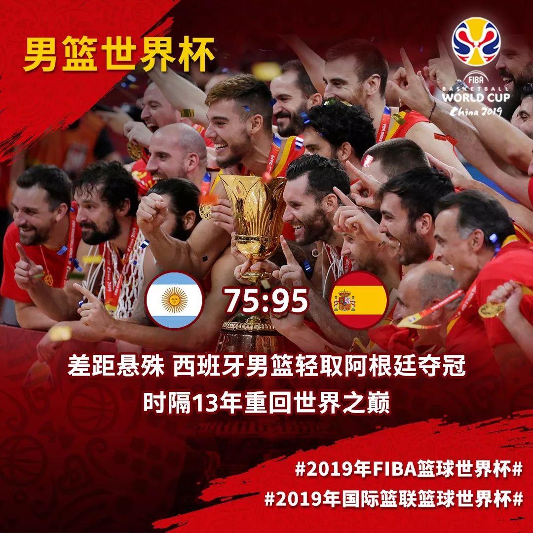 时隔13年,西班牙男篮重回巅峰 勇夺篮球世界杯冠军!