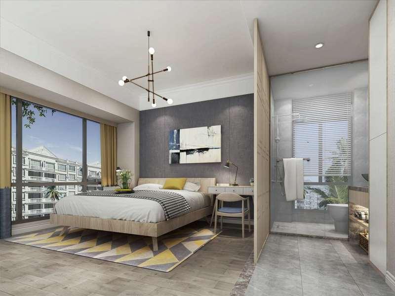 二、臥室裝修風格簡潔干凈  臥室的主要是給我們提供休息地方,所以不需要太多花里胡哨的設計,因為這樣會影響到睡眠質量。臥室一般不需要設計天花板造型,墻壁越簡潔越好,通常只用刷乳膠漆,床頭的墻壁可以適當地造型和裝飾。臥室墻面裝修不宜過多,還應適當搭配墻體材料和家具。其實臥室的風格和氣氛不是由墻壁、天花板等硬裝決定的,而是由窗簾、床罩、衣柜等軟裝決定的。 三、色調圖案搭配和諧 臥室的色調由兩個方面組成:墻和屋頂的硬裝,窗簾和床單的軟套。二者的色系搭配要和諧,要確定好主色調。例如,墻壁上有明亮的墻紙,窗簾的顏色應