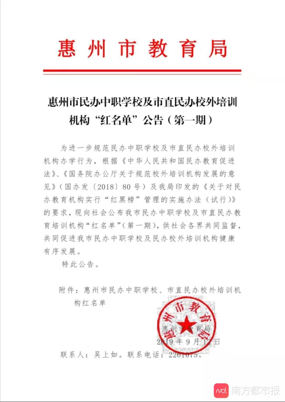"""「南方?#38469;?#25253;」惠州对民办教育机构实行 """"红黑榜""""管理,40家入选首期红名单"""
