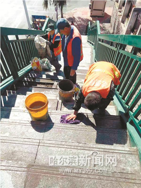 130余道路维修保养尚志大街花园街等路面已完工