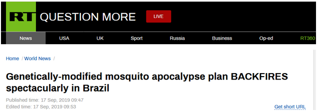 巴西蚊子基因改造计划适得其反:恐创造出超级物种