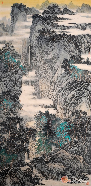林德坤山水画作品赏析:峰高泉声远 笔墨见功力