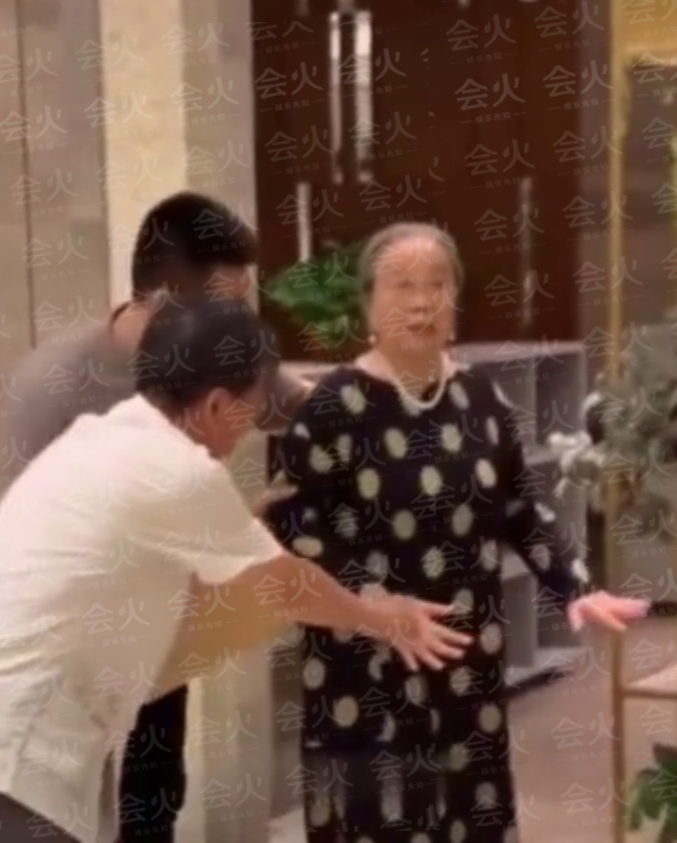 83岁容嬷嬷李明启获接机,三人搀扶走路踉跄,仍保持向路人深鞠躬