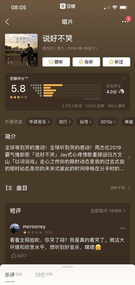 周杰伦新歌豆瓣评分降至5.8 不敌蔡徐坤张艺兴