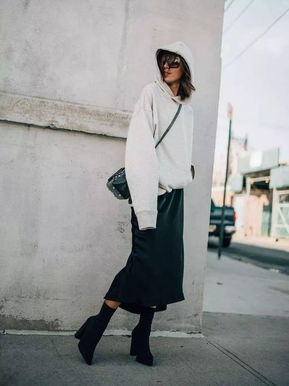 卫衣+裙子,时髦气质又有女人味!!