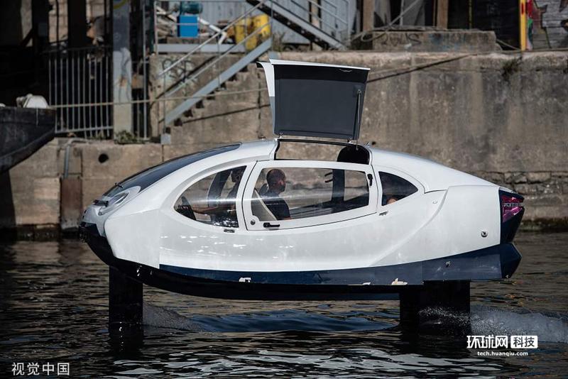 水上飞行的士?水翼电动船在巴黎塞纳河测试
