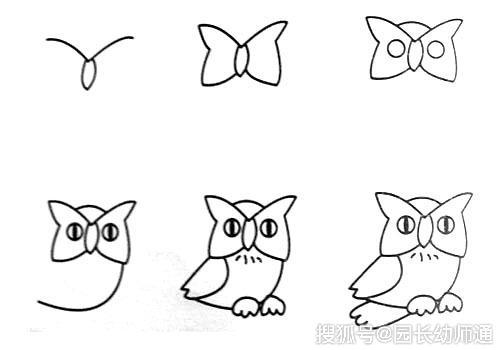 简单的动物简笔画,猫头鹰简笔画