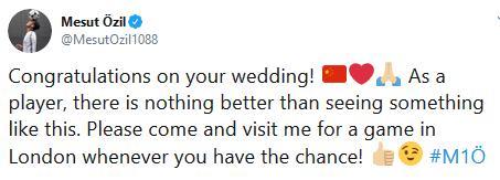 厄齐尔祝福新婚中国女球迷 请来伦敦观看我的比赛