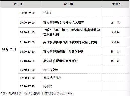 研修 | 英≡语演讲课程设计与教学实践研修班(10月27日,贵阳)