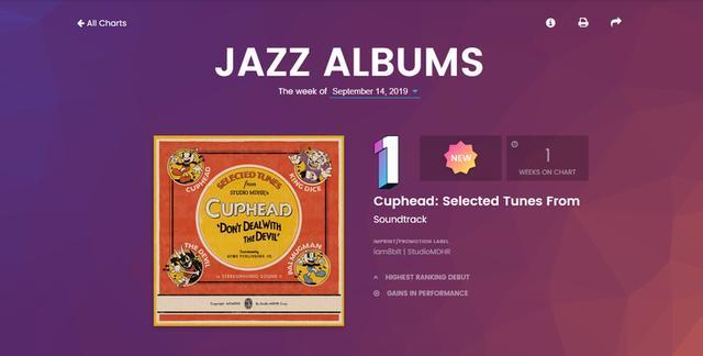 游戏音乐首次登顶Billboard《茶杯头》黑胶唱片拿下爵士榜首