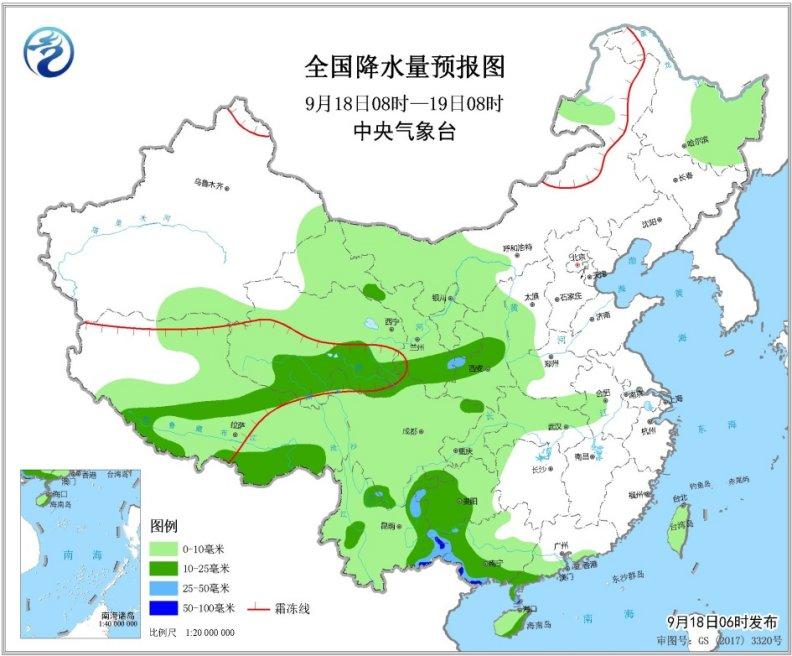 今明两天华西雨仍多 北方冷空气活动频繁