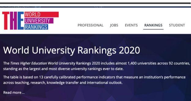 THE2020世界大学排名及雅思成绩要求