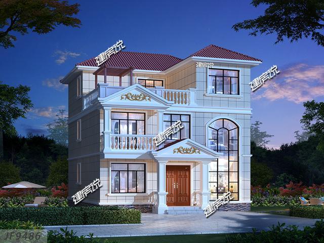 占地说三层别墅私人设计图,带露130平建房台别墅收费标准农村图片