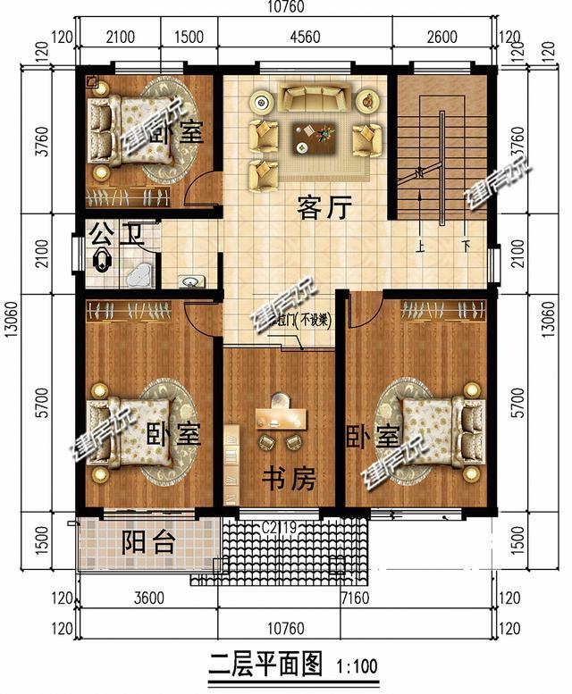 建房说三层农村别墅设计图,占地130平带露台图片