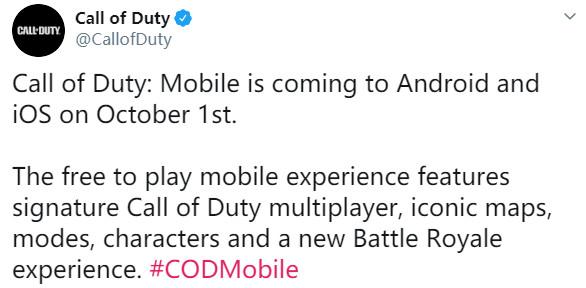 《使命召唤手游》10月1日登陆国服 登陆安卓和iOS