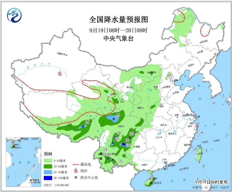 青藏高原东部有较强雨雪天气