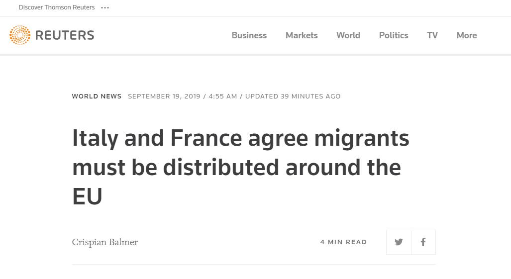意法领导人达成共识:欧洲必须共同承担难民问题
