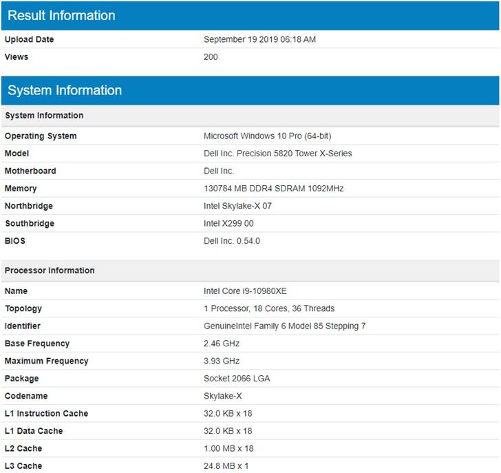 英特尔i9-10980XE跑分曝光:18核36线程,主频提到4.1GHz