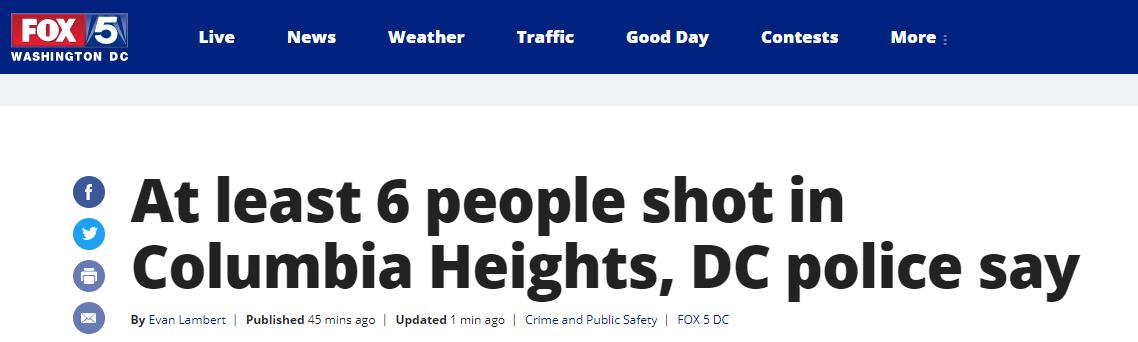美华盛顿哥伦比亚特区发生枪击案,多人中枪