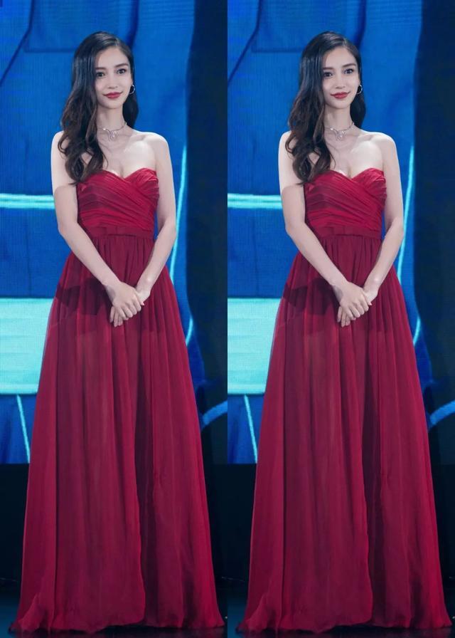 杨颖真是美到极致了!红色露肩裙配大红唇,好身材惊艳了时光
