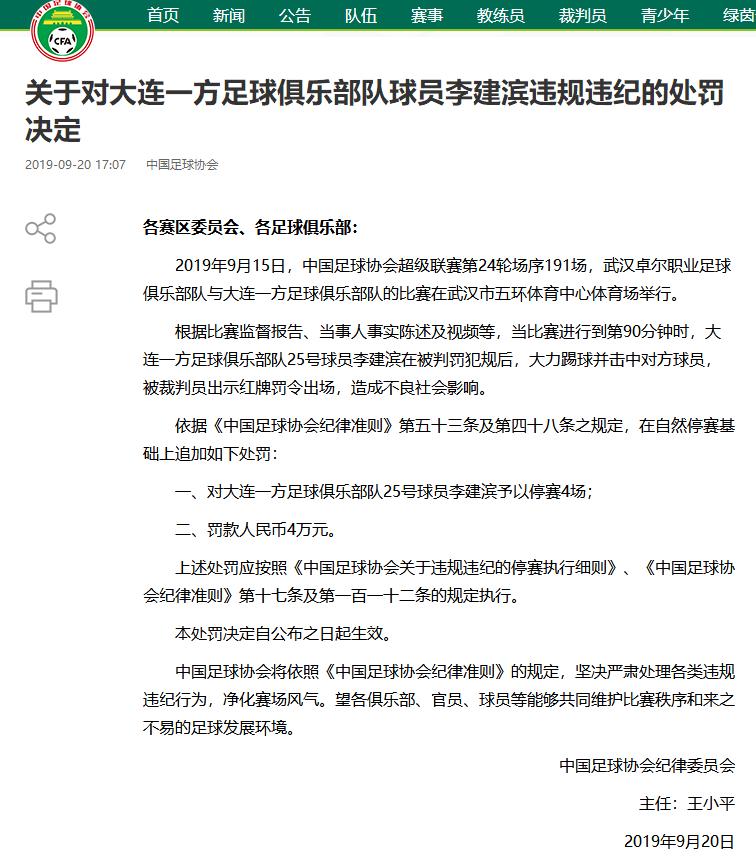 足协罚单:李建滨追加停赛4场 合计停6场赛季报销
