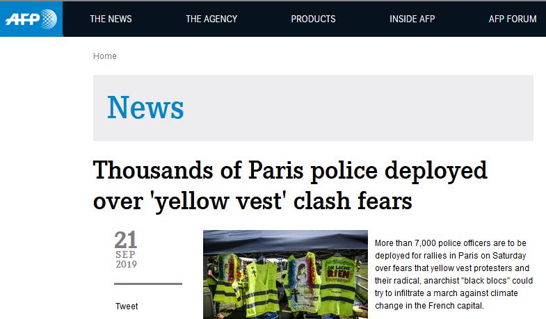 """为避免""""黄马甲""""周末闹事,巴黎警方计划出动7500名警察维持秩序"""
