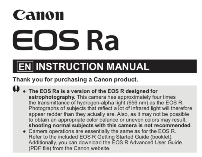 手滑?佳能官网流出EOSRa天文相机消息