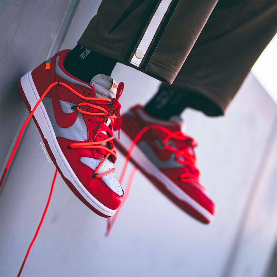 下月重磅登场!Off-White x Nike Dunk Low 灰红实图释出!