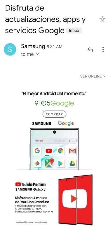 三星向拉美用户发Note10广告:可享受谷歌服务、应用、更新...