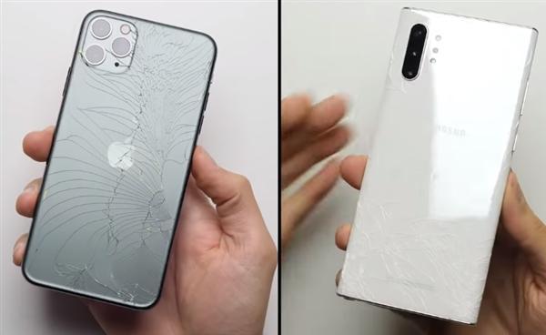 iPhone11ProMax对比三星Note10+跌落测试