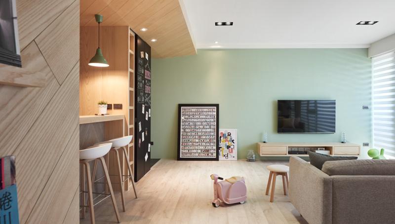 130平米现代混搭小清新三室两厅装修设计效果图