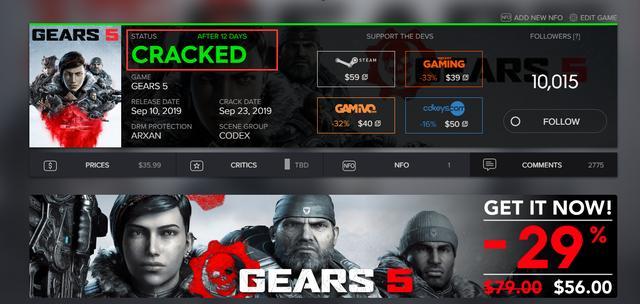 发售12天后微软一方大作《战争机器5》宣告破解