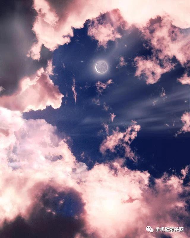 朋友圈背景图ins,超唯美封面图粉色天空