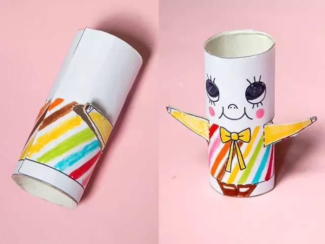 儿童手工制作萌萌的纸筒小人和小动物 环保手工 咿咿呀呀儿童手工网