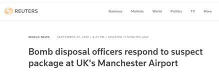 英国曼彻斯特机场发现可疑包裹,一名男子被拘留