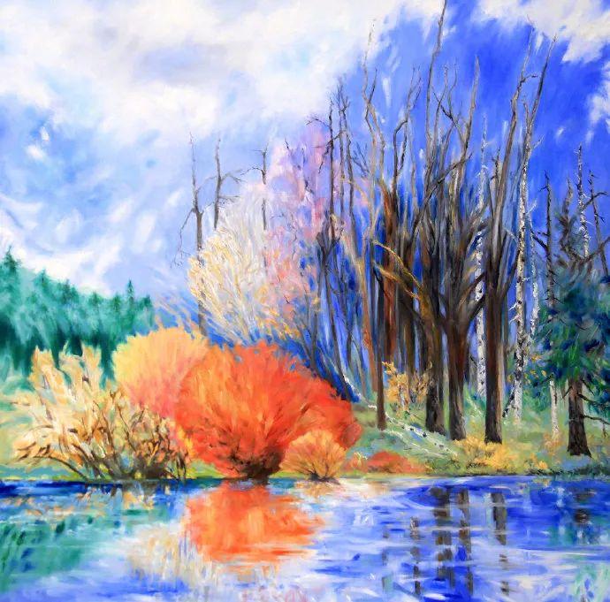 日暮清溪深,秋风穿越多彩丛林 |画家 Judy Hawkins绘画作品欣赏