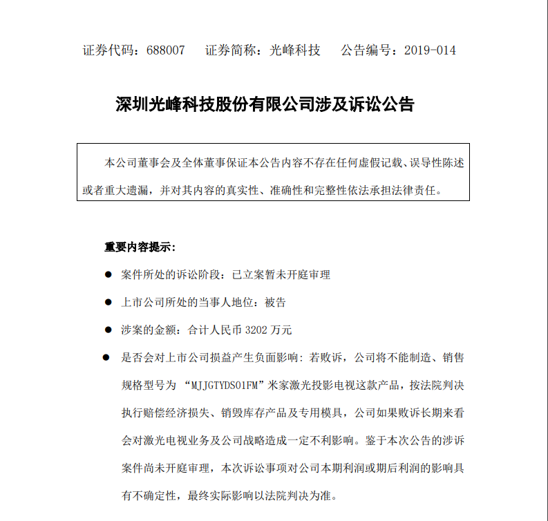 上市两月发四份涉诉公告!光峰科技再陷专利纠纷,涉案超3千万元