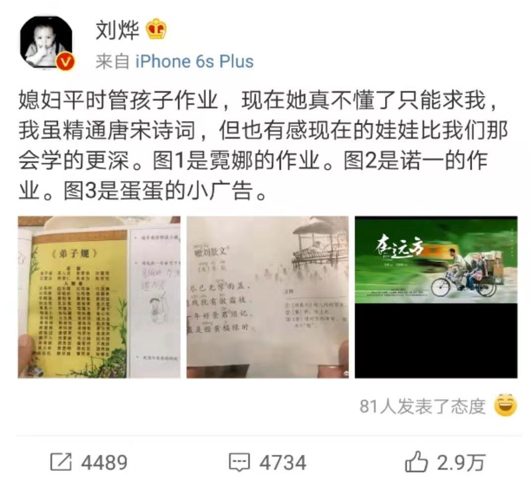 刘烨辅导诺一霓娜语文作业被难倒,网友支招学学岳云鹏