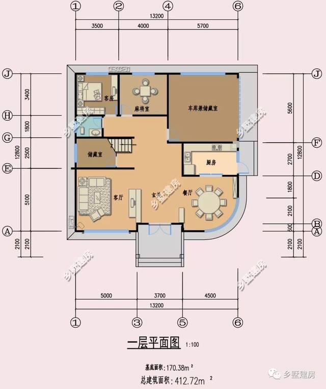 现代农村一层平房设计平面图自建房青砖别墅外观 四... _新浪博客