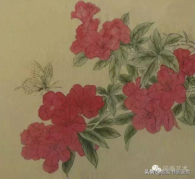 初步渲染.曙红调淡平涂花,花青加藤黄分染叶,分出叶的上下层次关系.