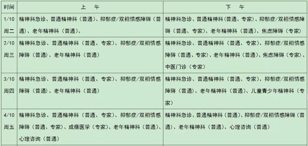 北京安定医院国庆节假期门诊安排