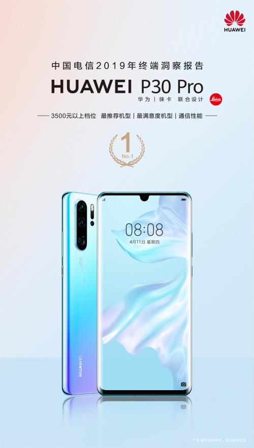 中国电信2019终端洞察报告发布华为P30Pro通信力备受肯定
