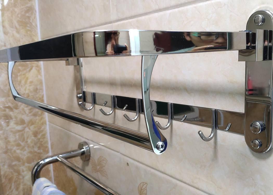 卫生间不锈钢毛巾架免打孔洗澡间洗手间置物架2层3层卫浴挂件壁挂