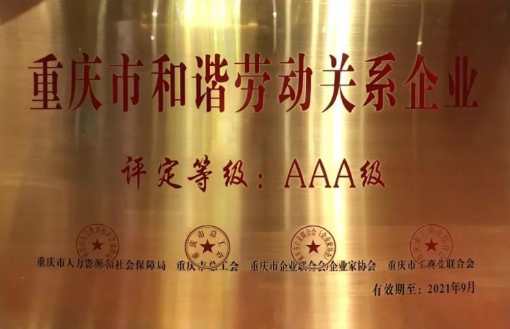"""华宇集团荣获重庆市""""AAA""""级和谐劳动关系企业荣誉"""